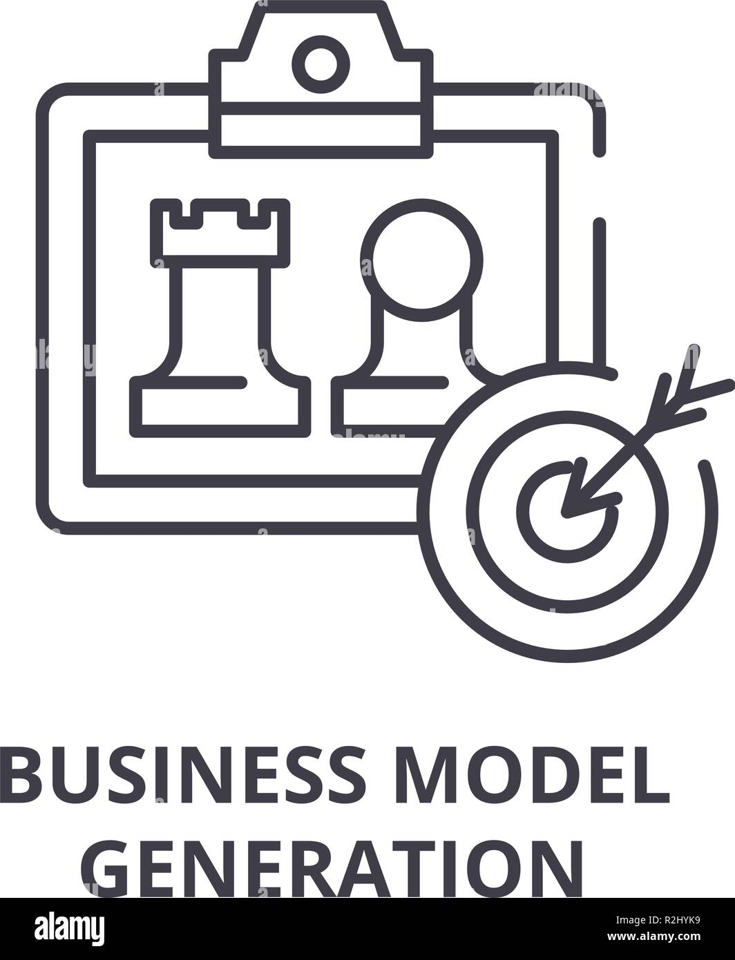 Business model generation line icon concept. Business model generation vector linear illustration, symbol, sign Stock Vector