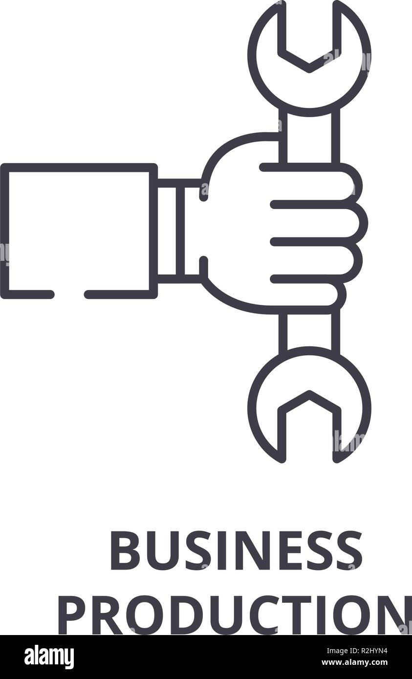 Business production line icon concept. Business production vector linear illustration, symbol, sign - Stock Image
