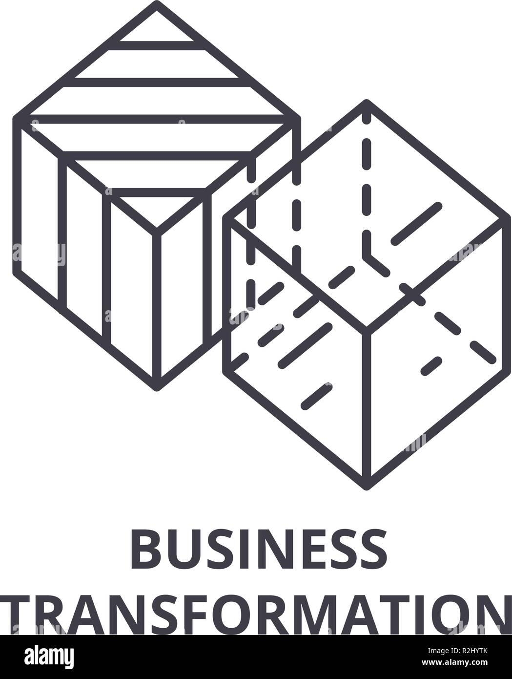 Business transformation line icon concept. Business transformation vector linear illustration, symbol, sign - Stock Image