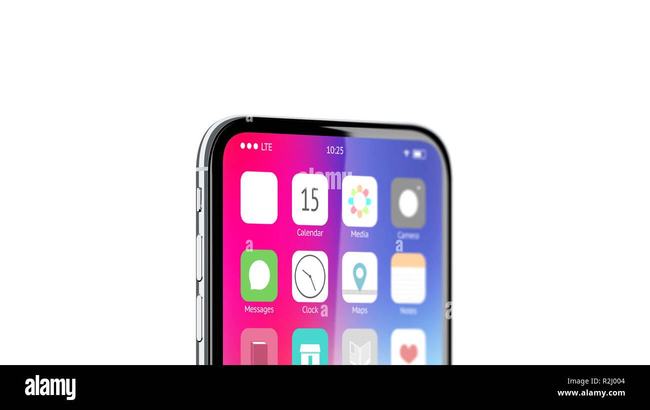Blank White App Icon On Phone Screen Menu Mockup 3d Rendering