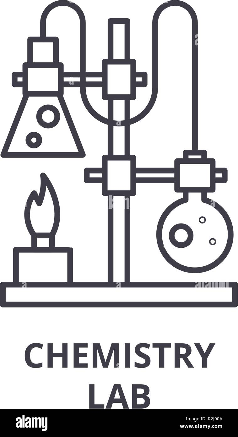 Chemistry lab line icon concept. Chemistry lab vector linear illustration, symbol, sign Stock Vector