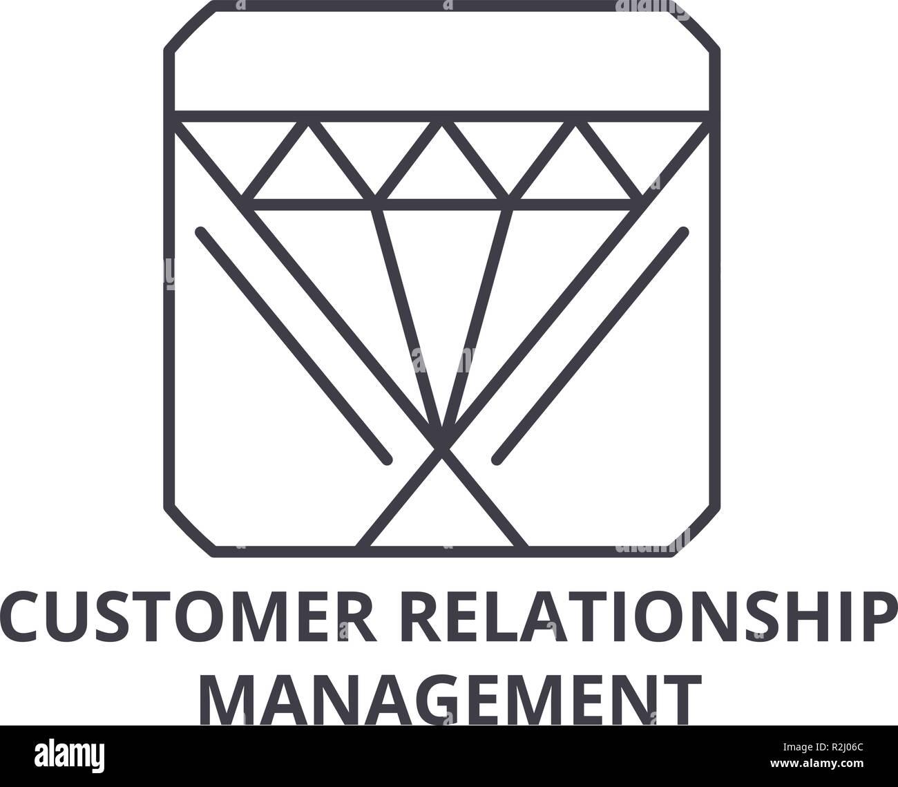 Customer relationship management line icon concept. Customer relationship management vector linear illustration, symbol, sign - Stock Image