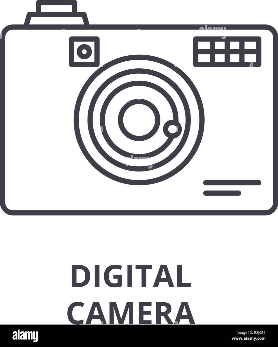 Digital camera line icon concept. Digital camera vector linear illustration, symbol, sign - Stock Image