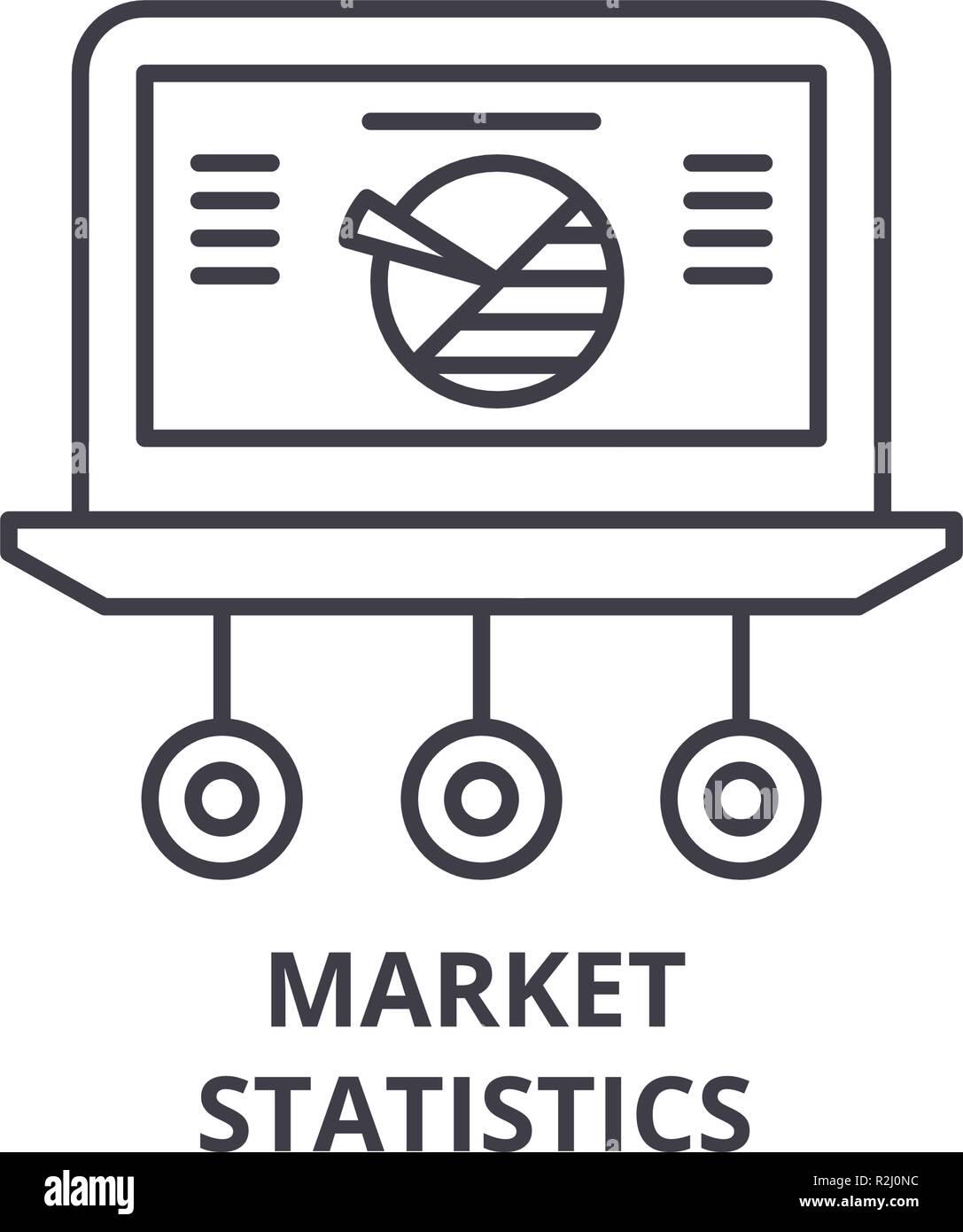 Market statistics line icon concept. Market statistics vector linear illustration, symbol, sign - Stock Image