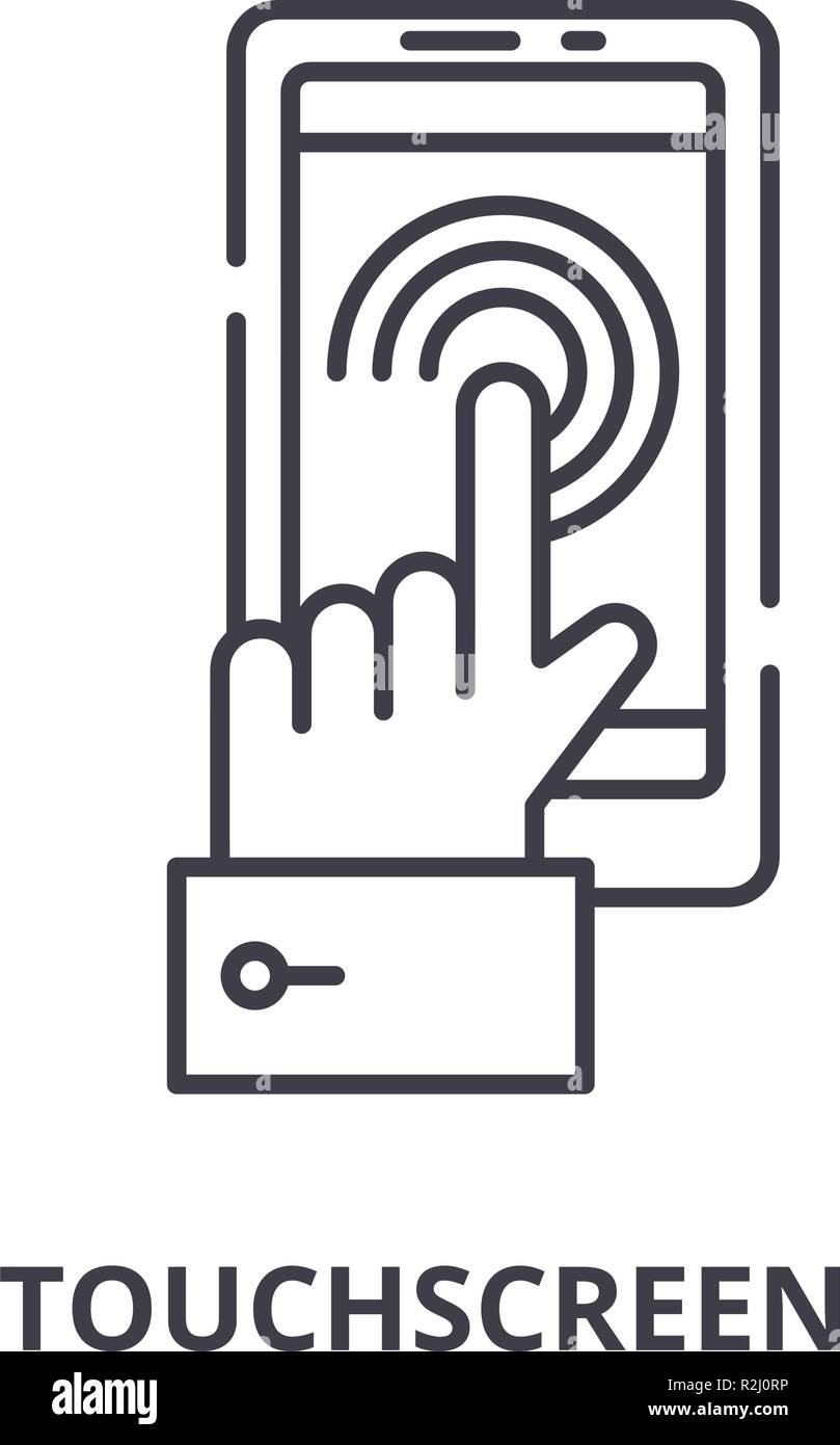 Mobile touchscreen  line icon concept. Mobile touchscreen  vector linear illustration, symbol, sign - Stock Image