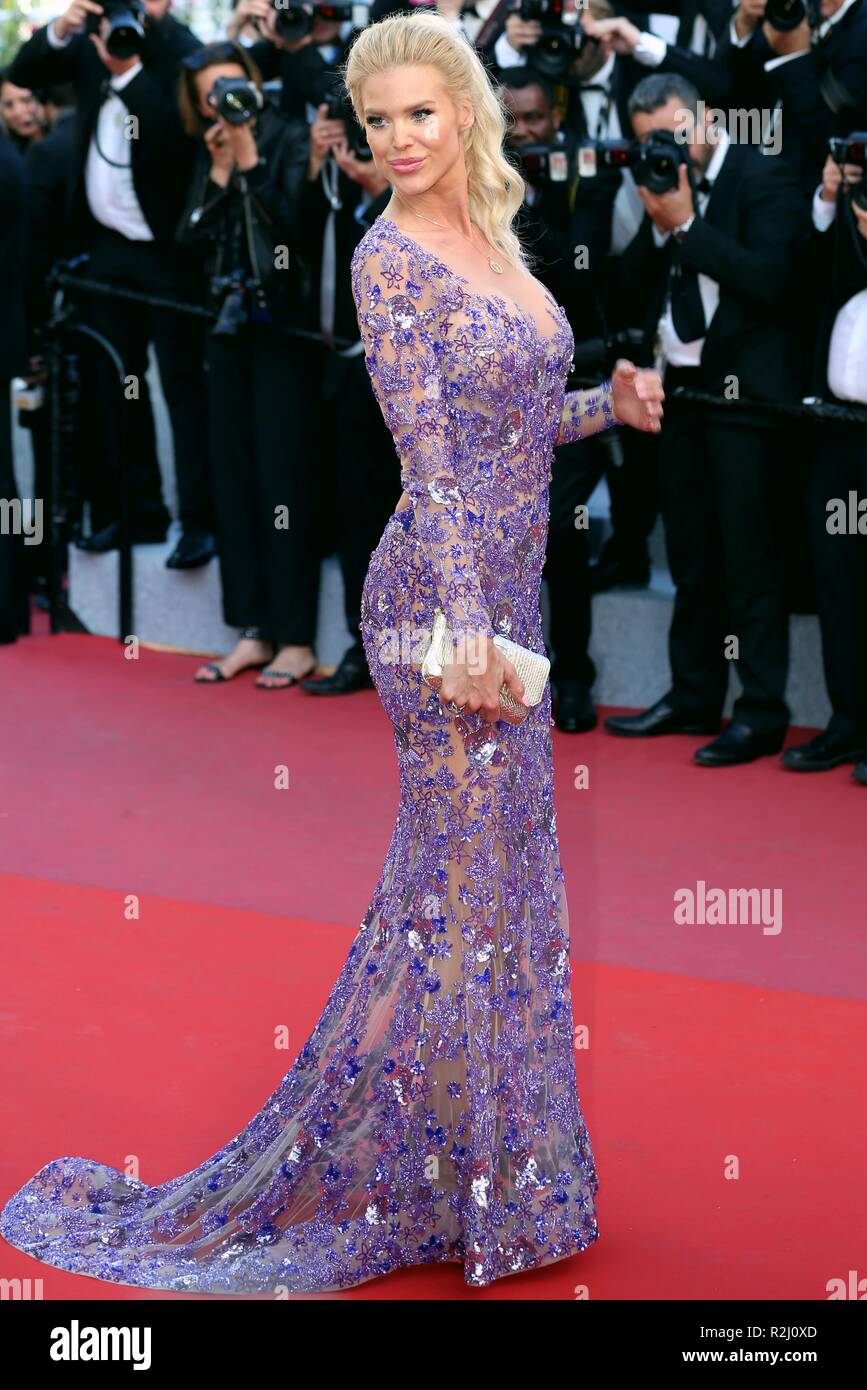 CANNES, FRANCE – MAY 11, 2018: Victoria Silvstedt attends the screening of 'Ash is the Purest White' at the Festival de Cannes (Ph: Mickael Chavet) Stock Photo