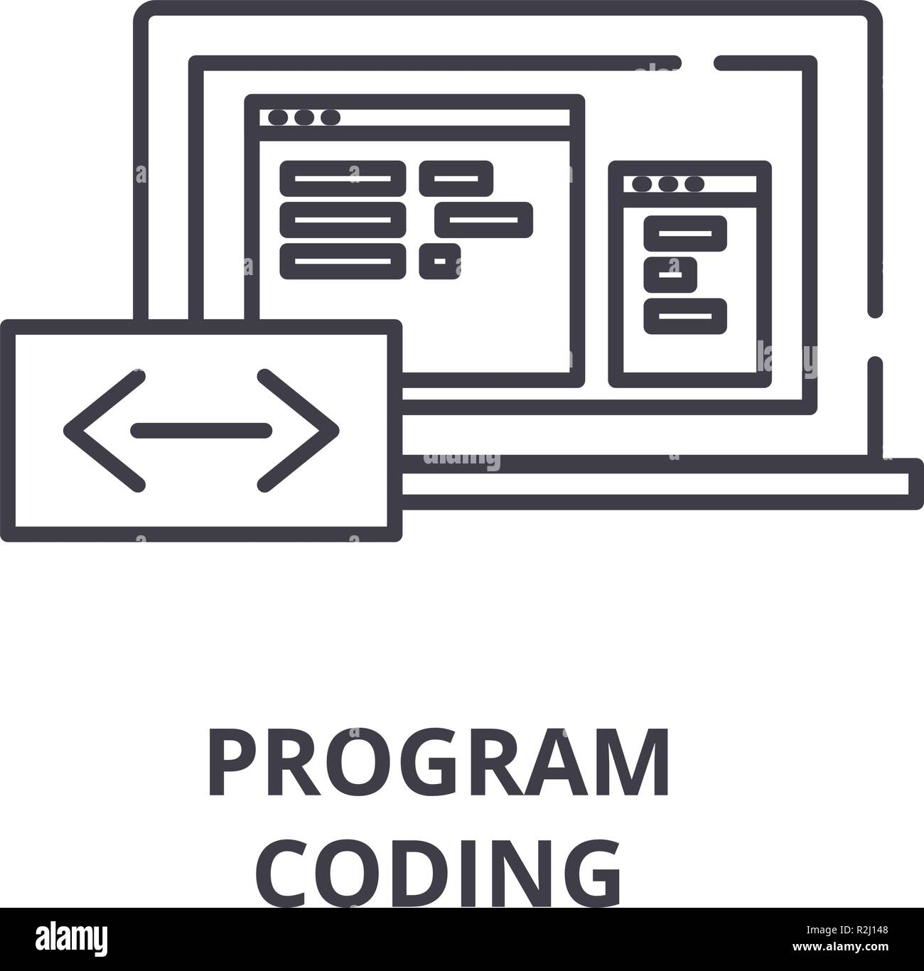 Program coding line icon concept. Program coding vector linear illustration, symbol, sign - Stock Image