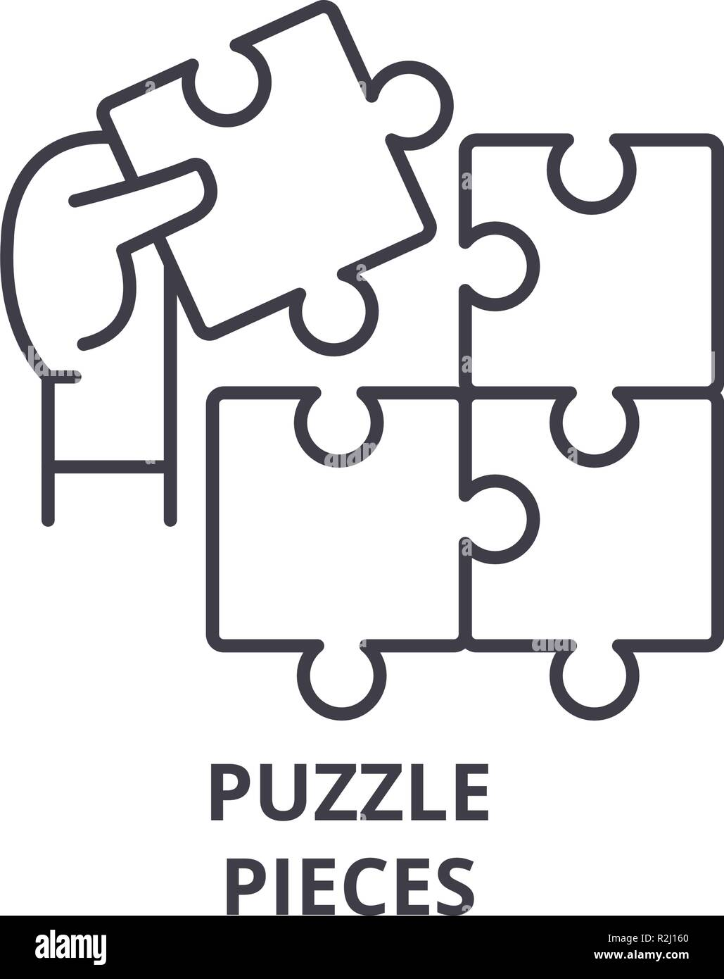 Puzzle pieces line icon concept. Puzzle pieces vector linear illustration, symbol, sign Stock Vector