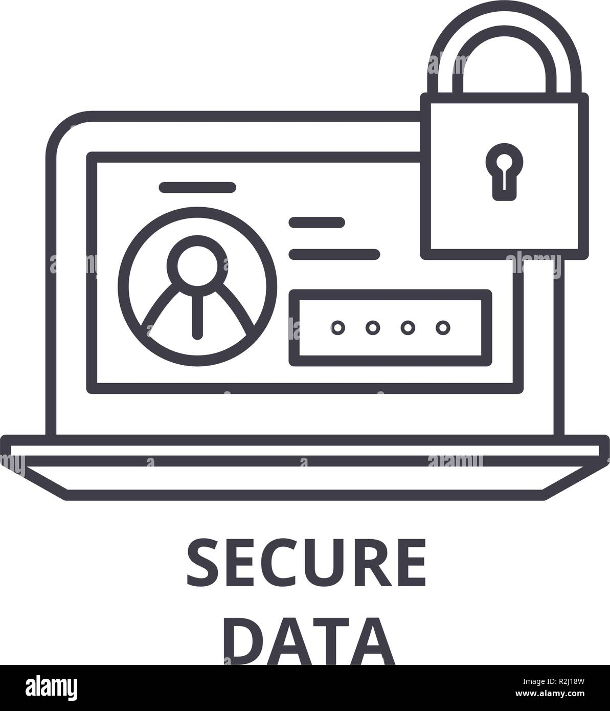 Secure data line icon concept. Secure data vector linear illustration, symbol, sign - Stock Image