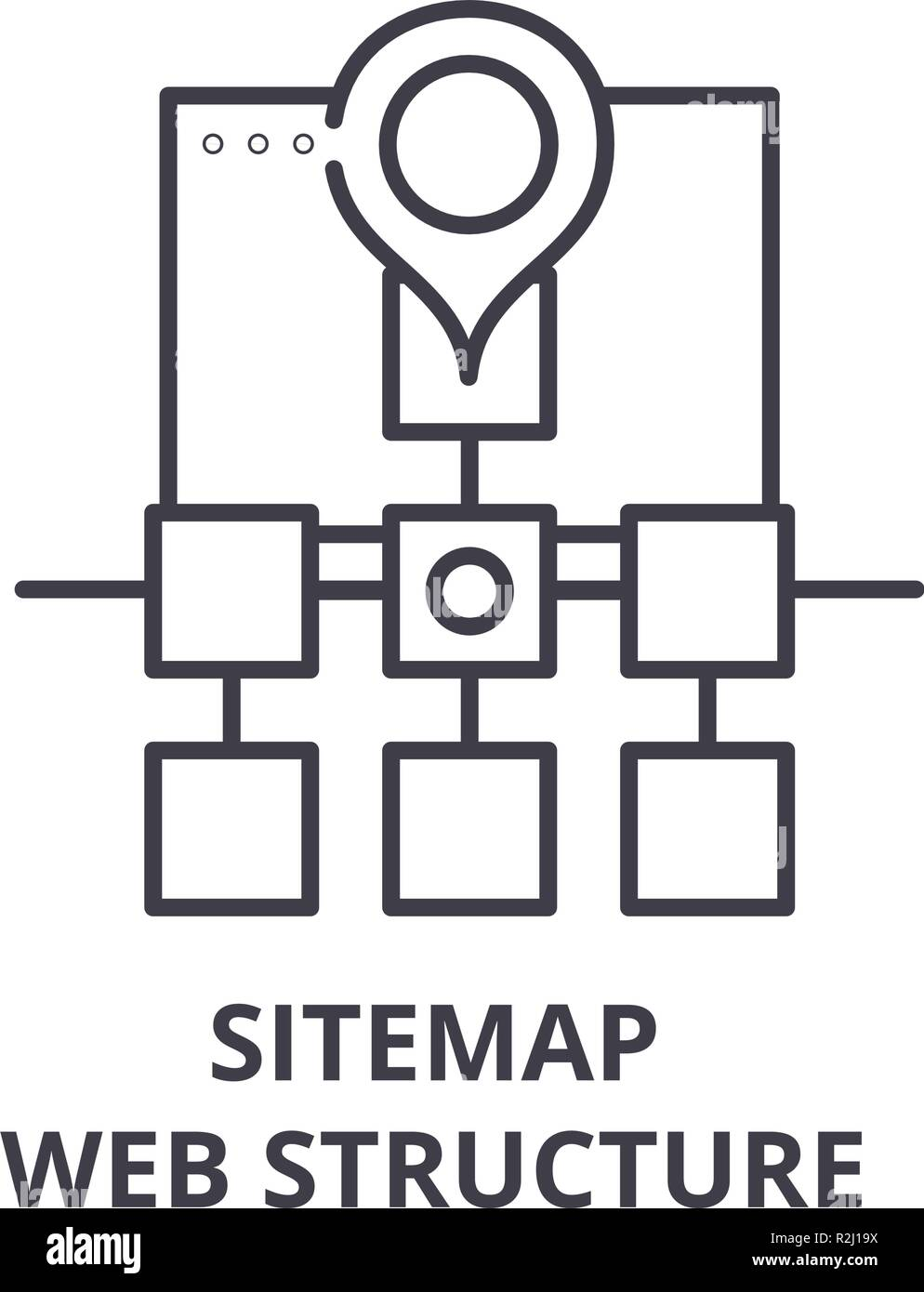 Sitemap web structure line icon concept. Sitemap web structure vector linear illustration, symbol, sign Stock Vector