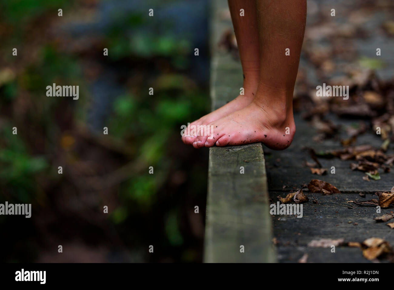Close-up of a boy's dirty feet standing on a footbridge in the forest, United States Stock Photo