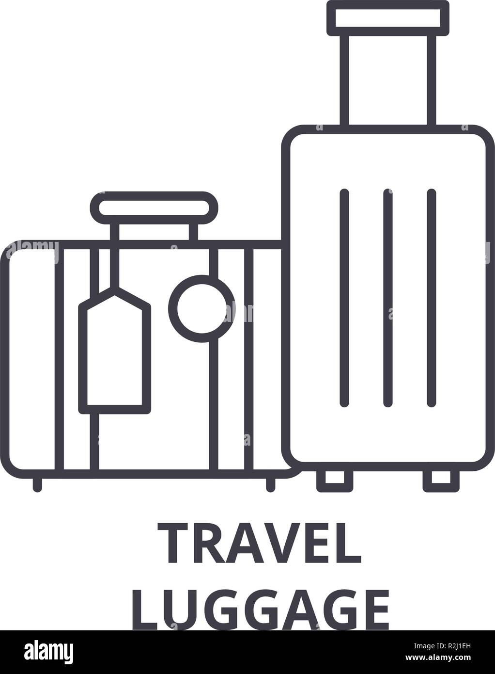 Travel luggage line icon concept. Travel luggage vector linear illustration, symbol, sign Stock Vector
