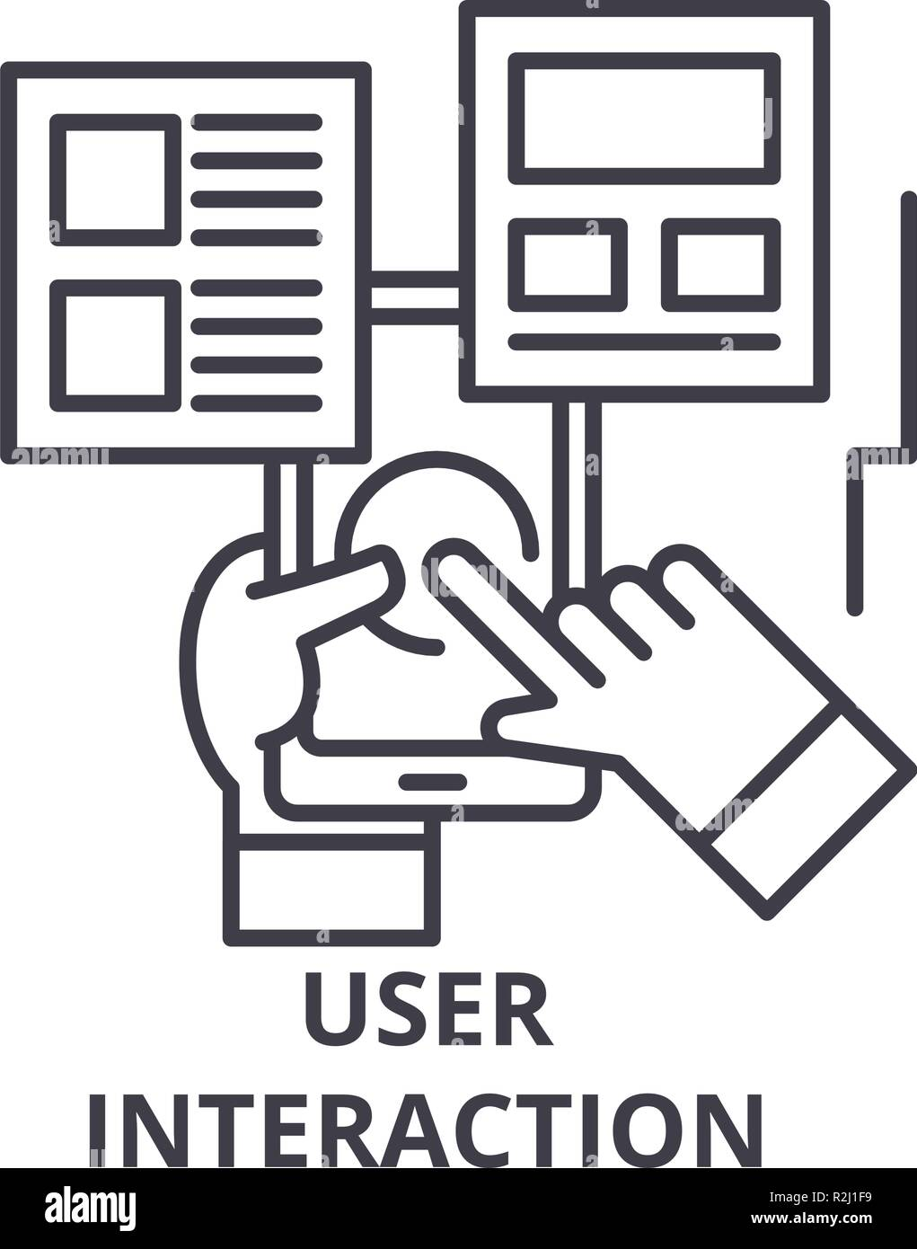 User interaction line icon concept. User interaction vector linear illustration, symbol, sign - Stock Image