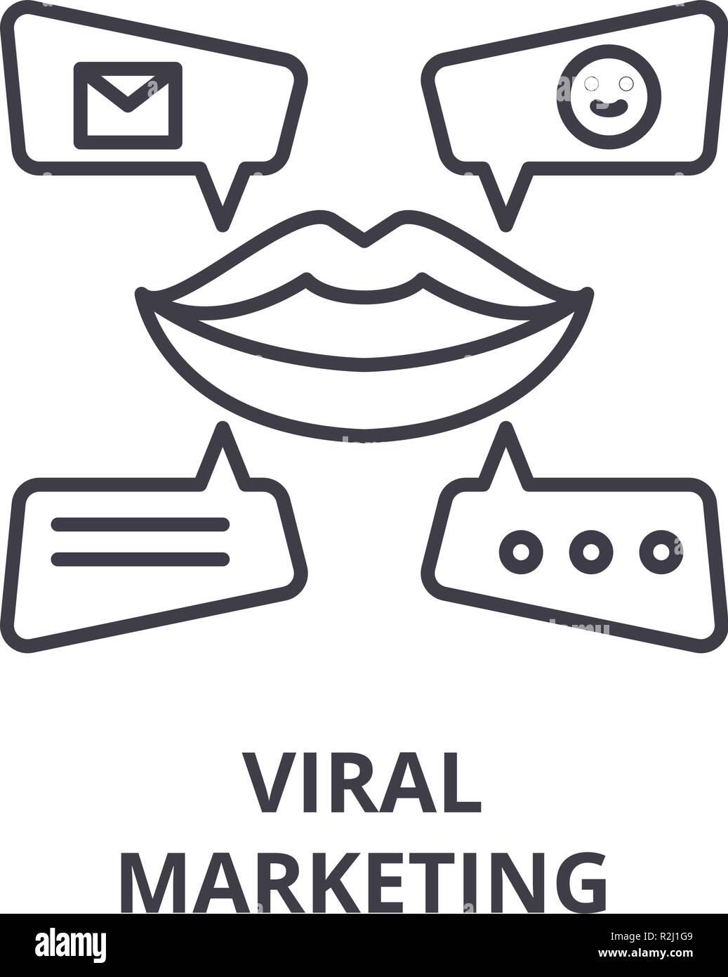 Viral marketing line icon concept. Viral marketing vector linear illustration, symbol, sign - Stock Image