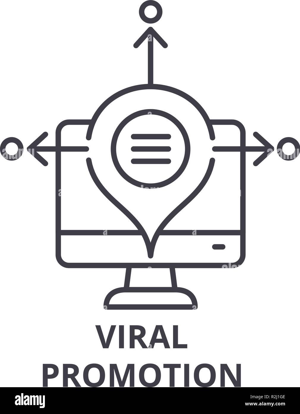 Viral promotion line icon concept. Viral promotion vector linear illustration, symbol, sign - Stock Image