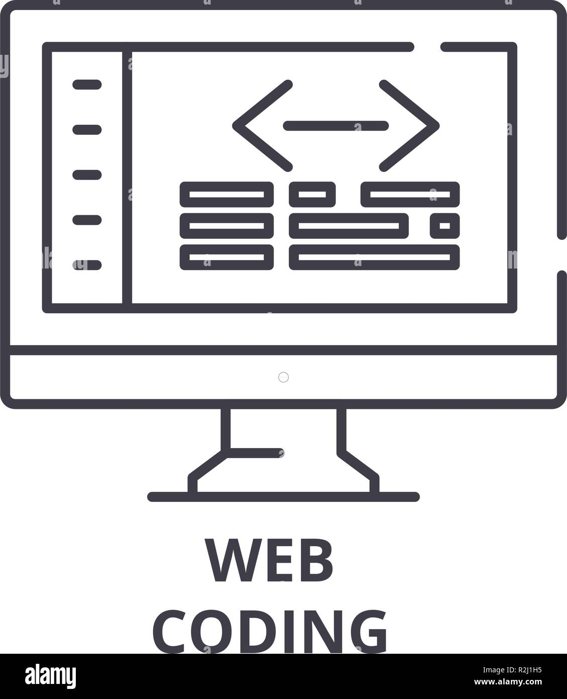 Web coding line icon concept. Web coding vector linear illustration, symbol, sign - Stock Image