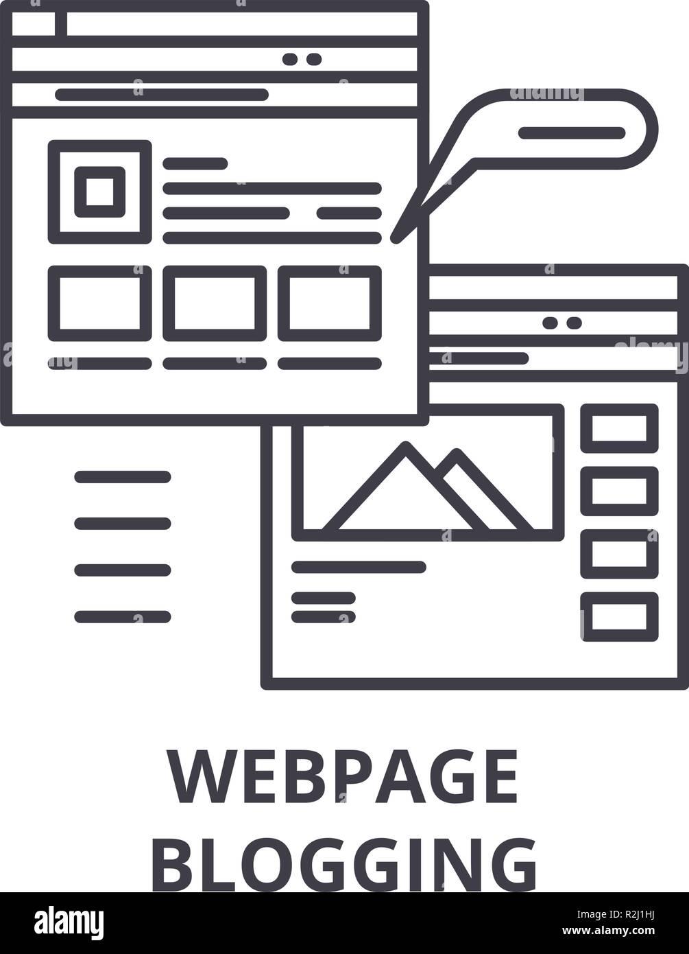 Webpage blogging line icon concept. Webpage blogging vector linear illustration, symbol, sign - Stock Image