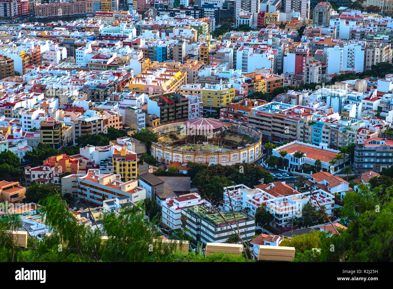 From Los Campitos is about 10 minutes walk to the Mirador (viewpoint) To Guapo. From there you can see perfectly in the city center of Santa Cruz. Goo - Stock Image