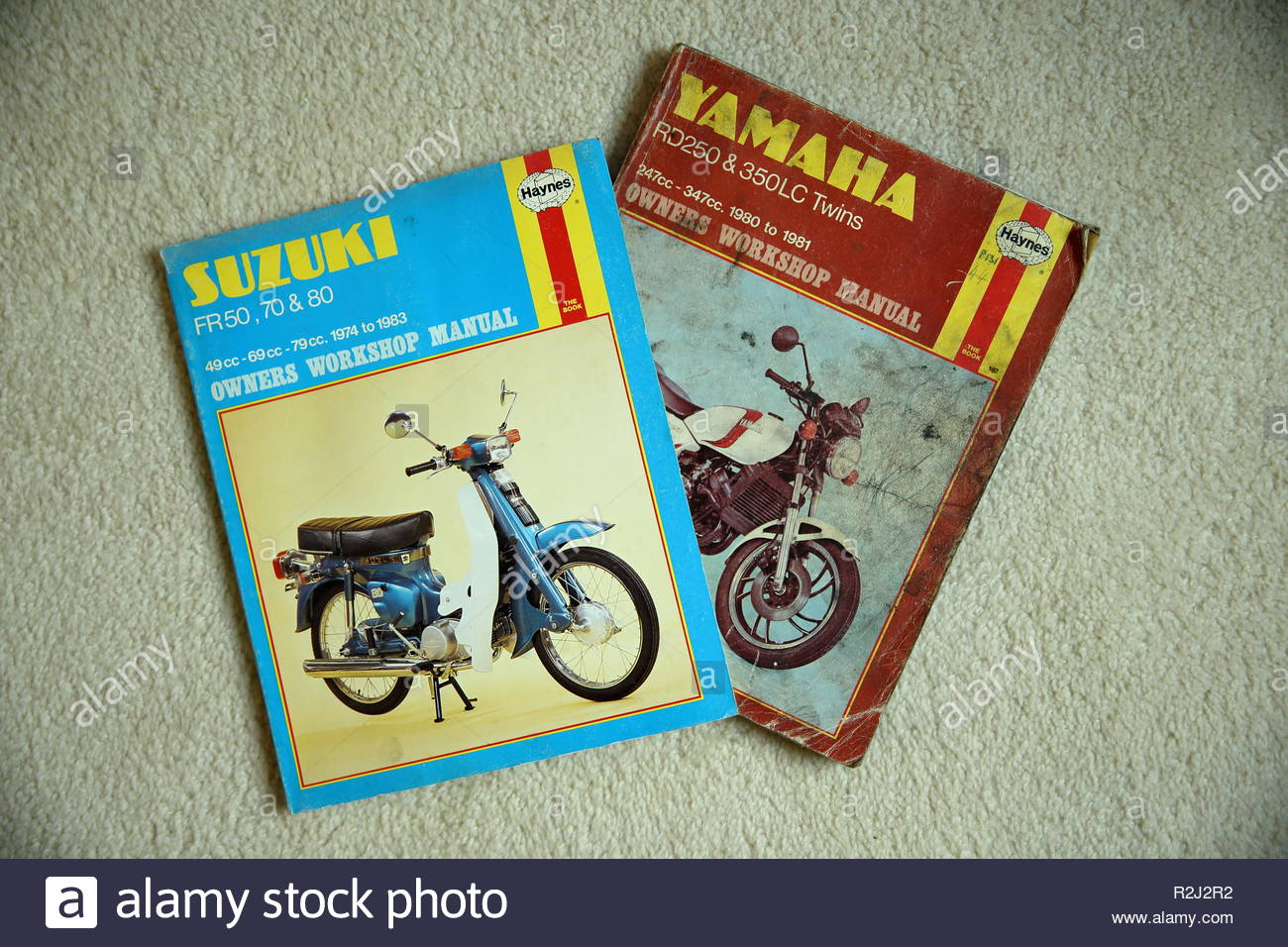 Two Haynes Owners Workshop Manuals, one for Suzuki FR50, 70 and 80, one