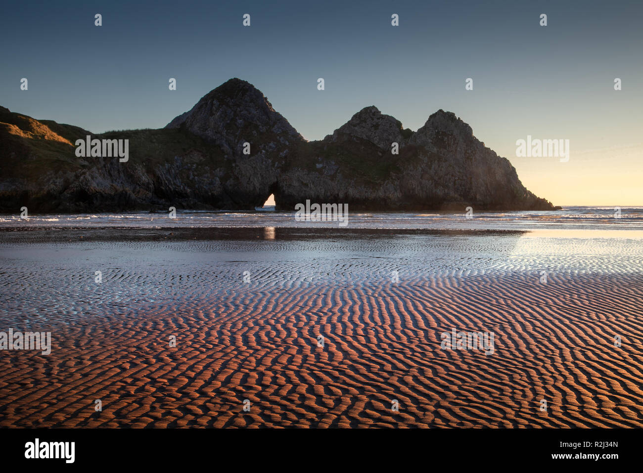 Three Cliffs Bay Gower peninsula - Stock Image