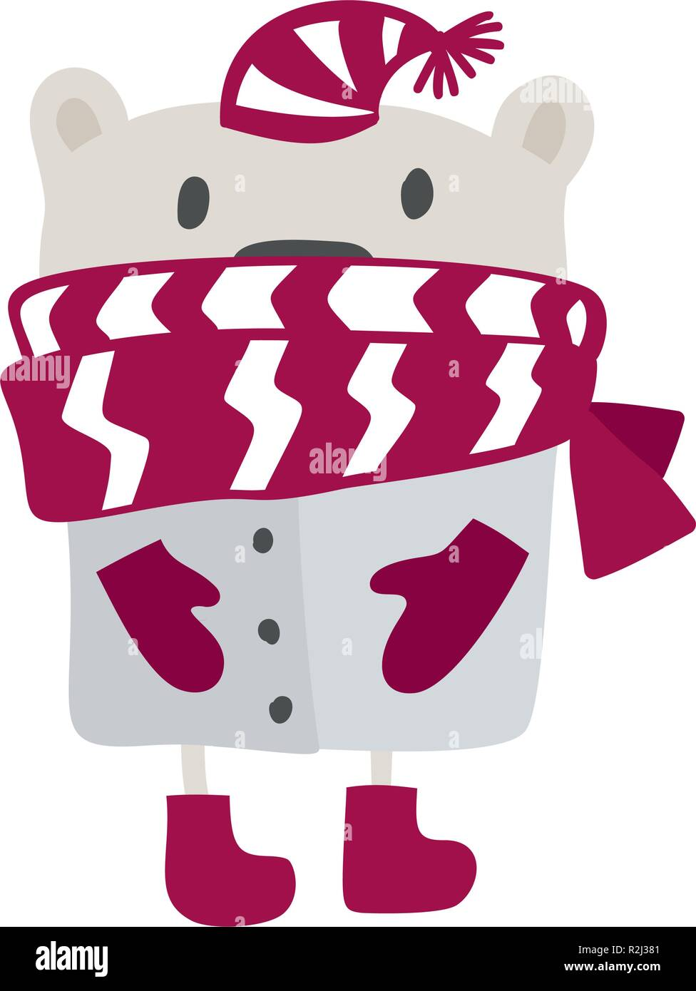 Christmas Scandinavian Style Design Hand Drawn Vector Illustration Of A Cute Funny Winter Bear In A Muffler Going For A Walk Isolated Objects On White Background Concept For Kids Apparel Nursery Print