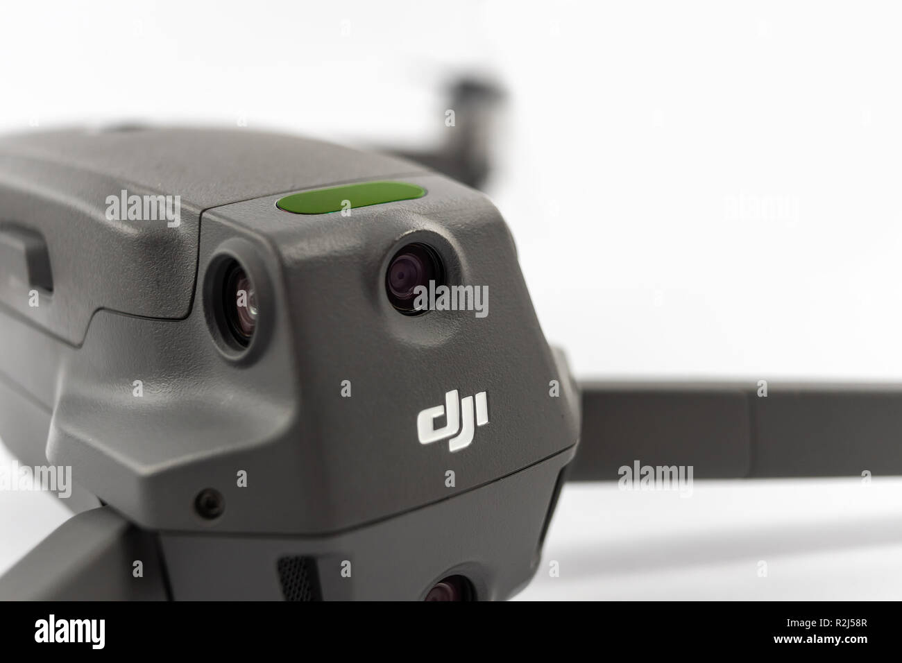 Germany, November 17, 2018: Detail of the rear side of the Mavic 2 pro with the logo and lettering of the Chinese manufacturer DJI - Stock Image