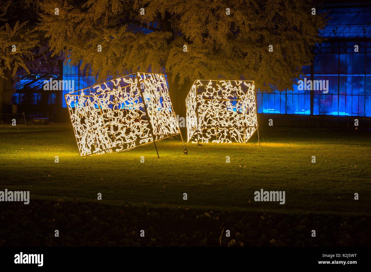DEU, Deutschland, Stuttgart, 15.11.2018, Wilhelma Stuttgart Christmasworld Beleuchtungskonzept beleuchtete Quader und Gewächshaus [© 2018 Christoph He - Stock Image