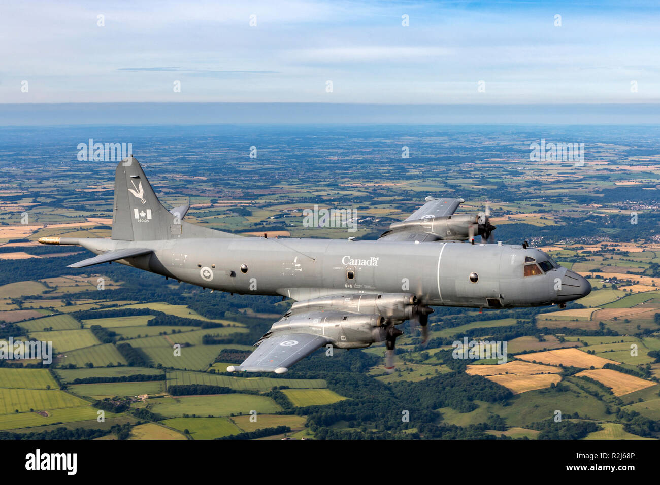 The Lockheed CP-140 Aurora is a maritime patrol aircraft operated by the Royal Canadian Air Force. The aircraft is based on the Lockheed P-3 Orion air - Stock Image