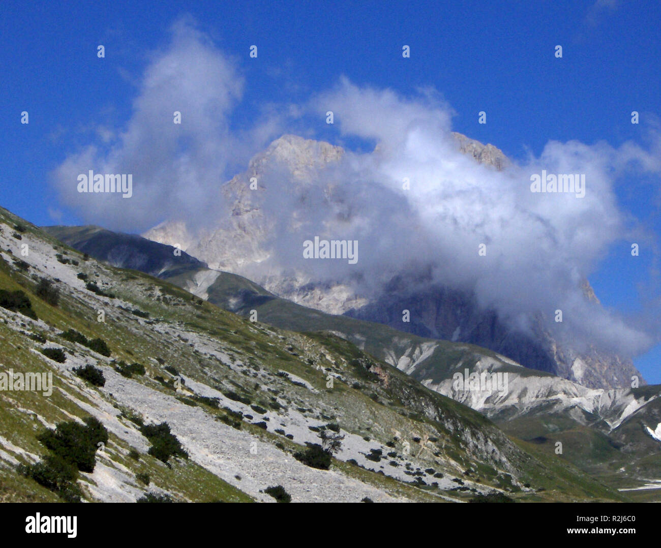 corno grande veiled in a cloud Stock Photo
