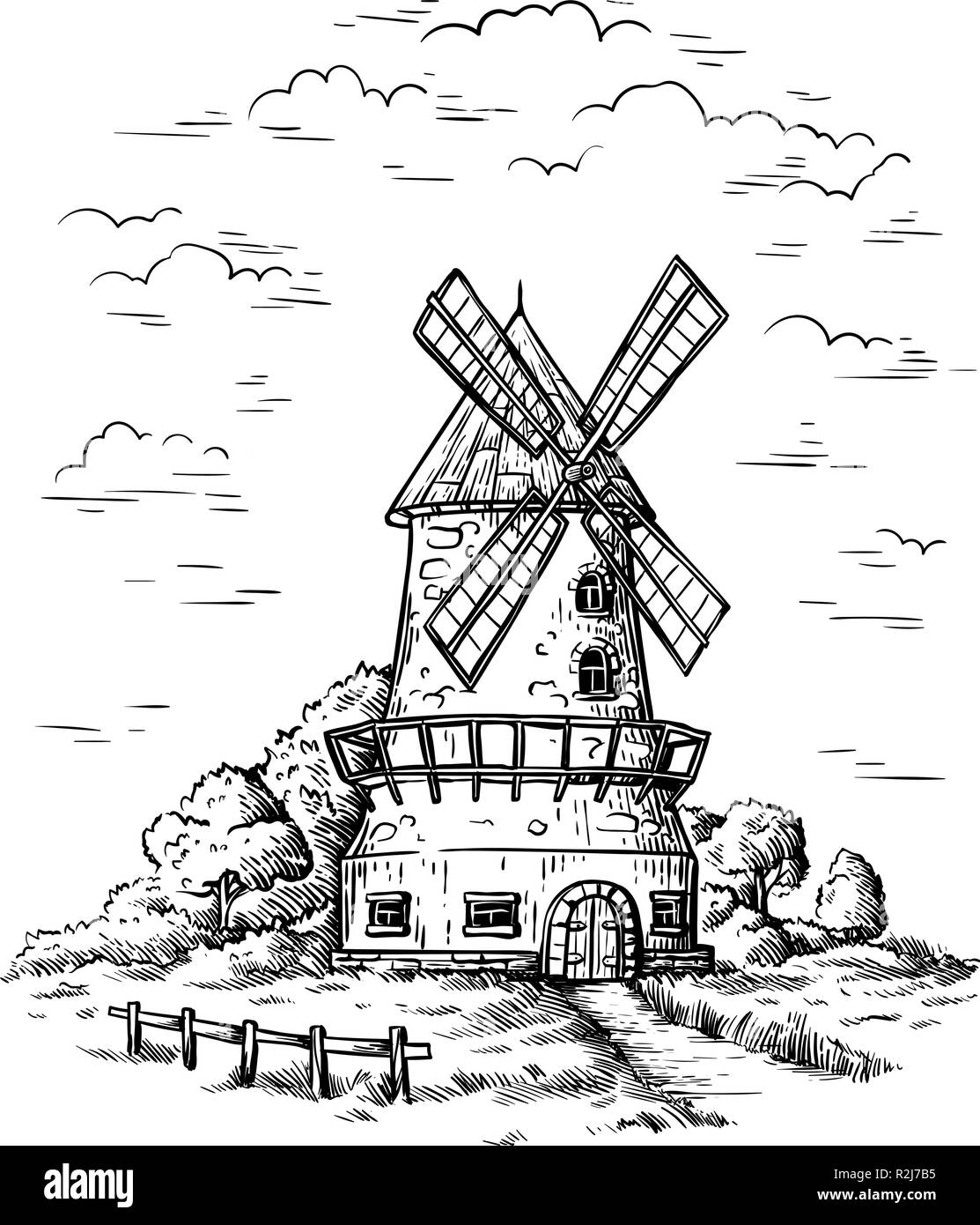 village near a wheat field and a windmill drawn by hand vector illustration - Stock Vector