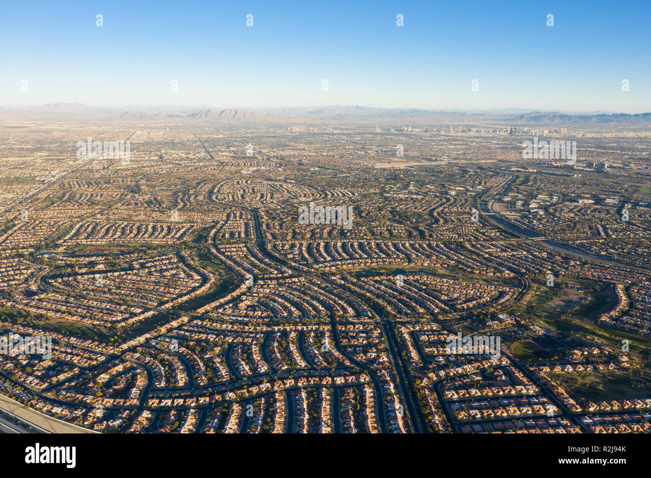 An aerial view shows dense housing developments in Summerlin, just outside the city of Las Vegas, Nevada. This area is quickly being developed. Stock Photo