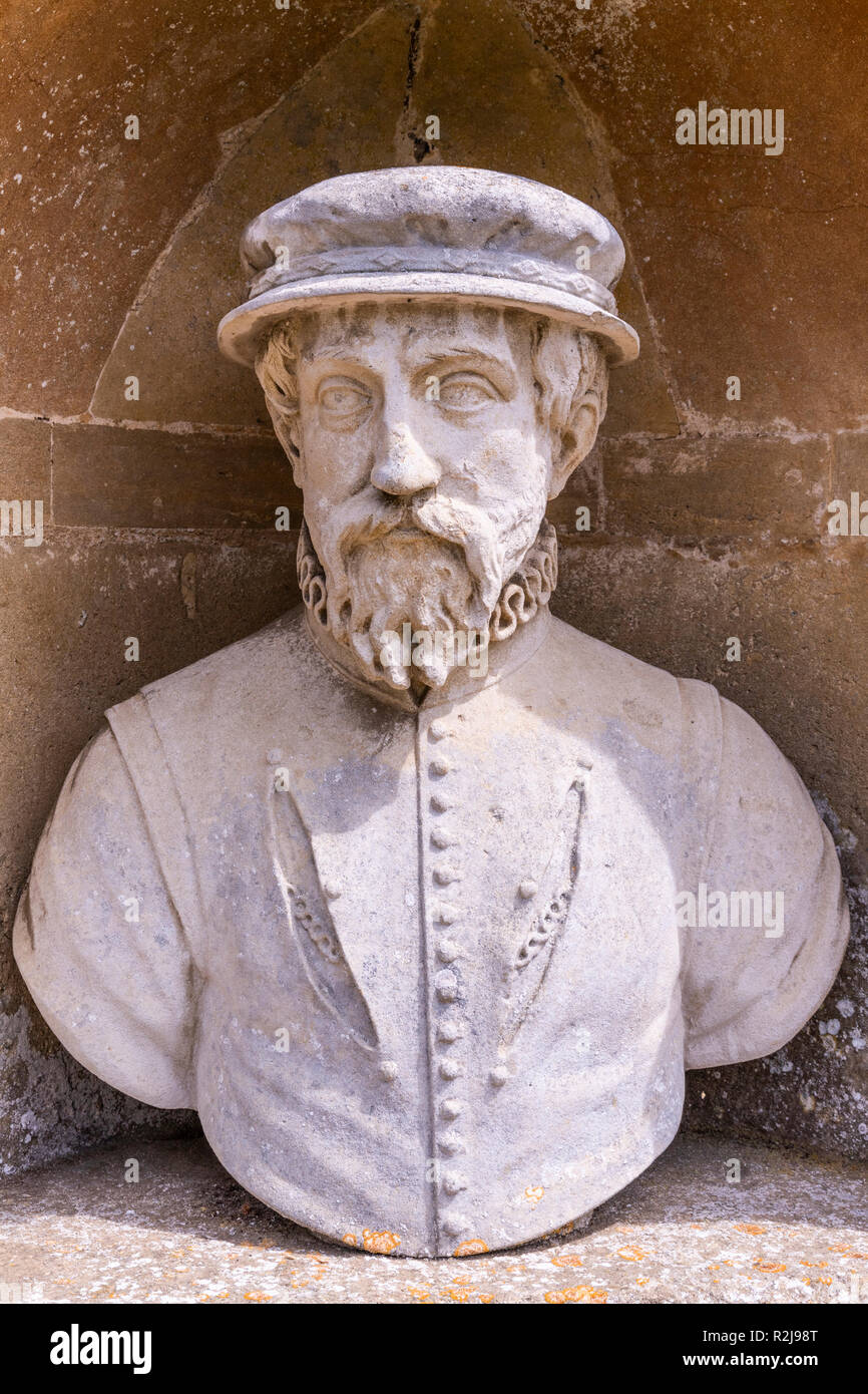 A bust of Sir Thomas Gresham in The Temple of British Worthies in Stowe House Gardens, Buckinghamshire UK - Stock Image