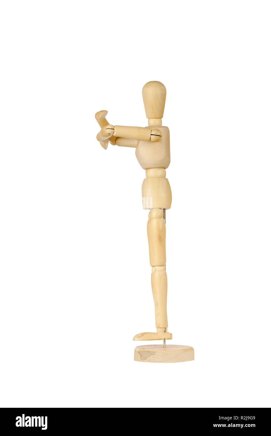 Wooden stickman hugging - Stock Image
