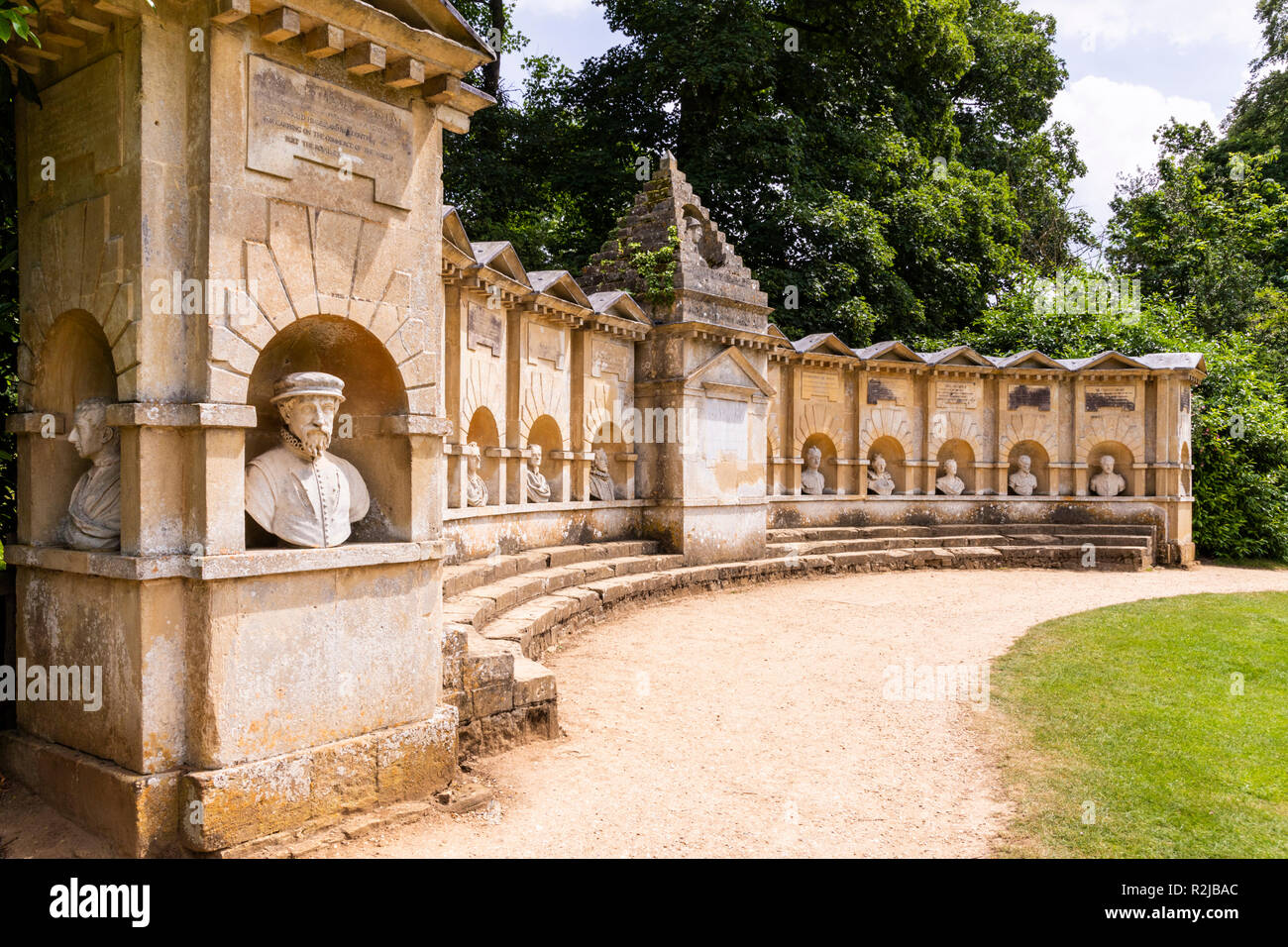 The Temple of British Worthies in Stowe House Gardens, Buckinghamshire UK - Stock Image