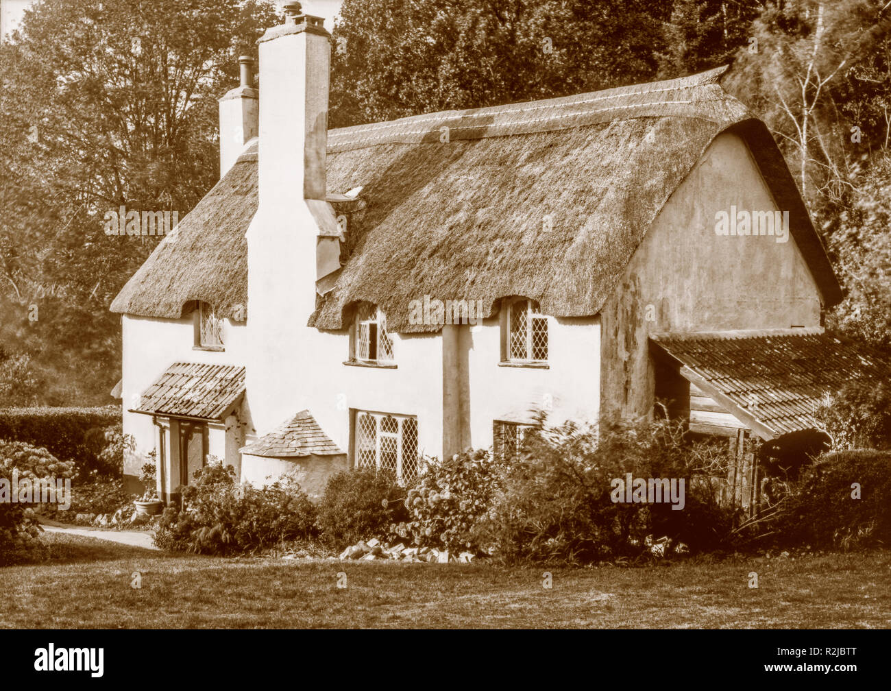 A sepia toned photograph taken on a paper negative in a 7 x 5 inch plate camera in October 2018 of a thatched cottage on Selworthy Green on Exmoor - Stock Image