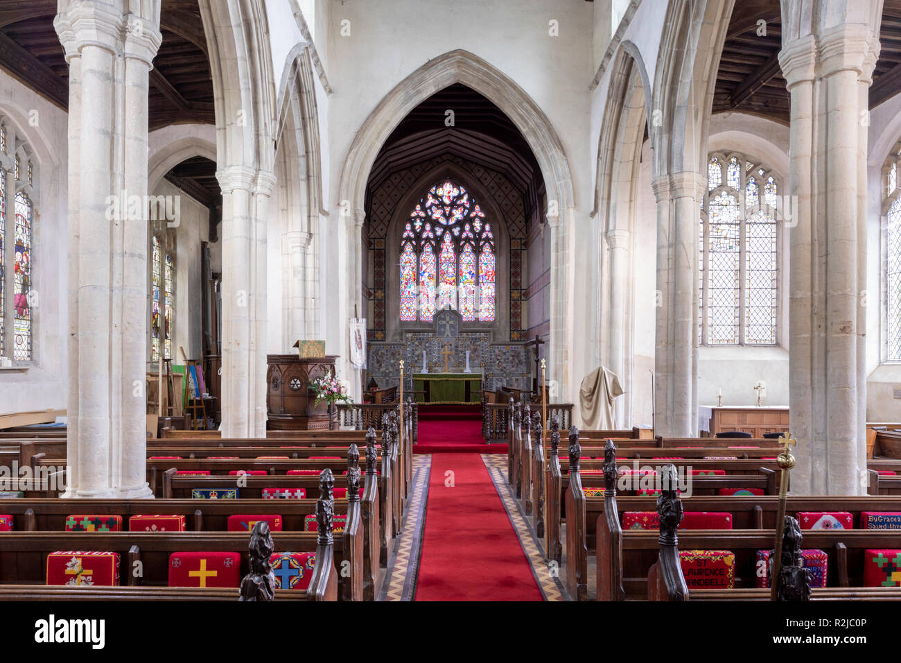 The interior of St Lawrence church in the village of Great Waldingfield. Suffolk UK Stock Photo