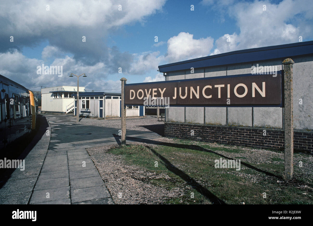 British Rail Diesel Multiple Unit, DMU, train at Dovey Junction, on the Cambrian Coast Dovey Junction to Pwllheli railway line, Wales, Great Britain - Stock Image