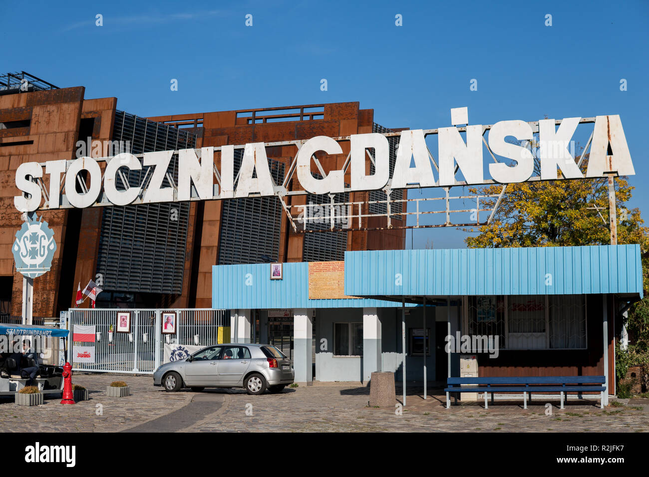 October 2018, Gdansk, Poland: Historical gate numer 2, entrance to Gdansk Shipyard where in August 1980 massive strike has begun and beginning of Soli - Stock Image