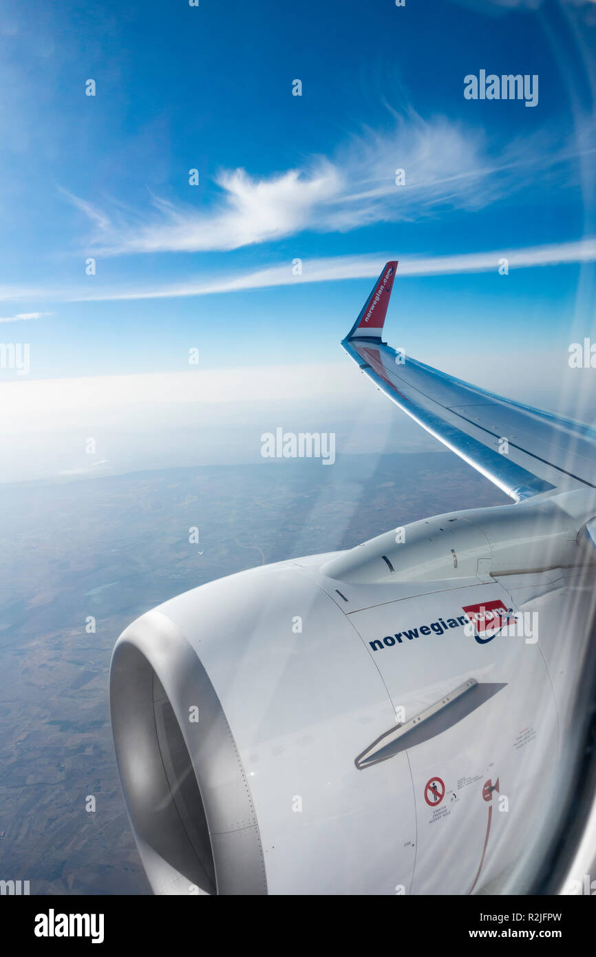 View from airplane window on Norwegian Air flight - Stock Image