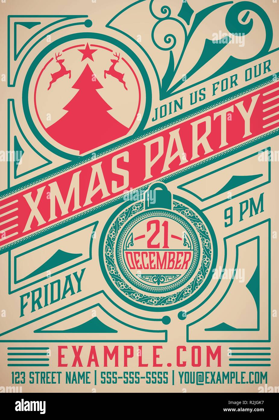 Christmas Party Poster.Retro Christmas Party Poster Holidays Flyer Design Vector