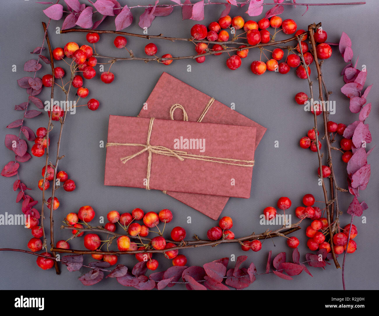 Fall Flatlayof Hand Craft Gift Box With Red Apples And Autumn Leaves