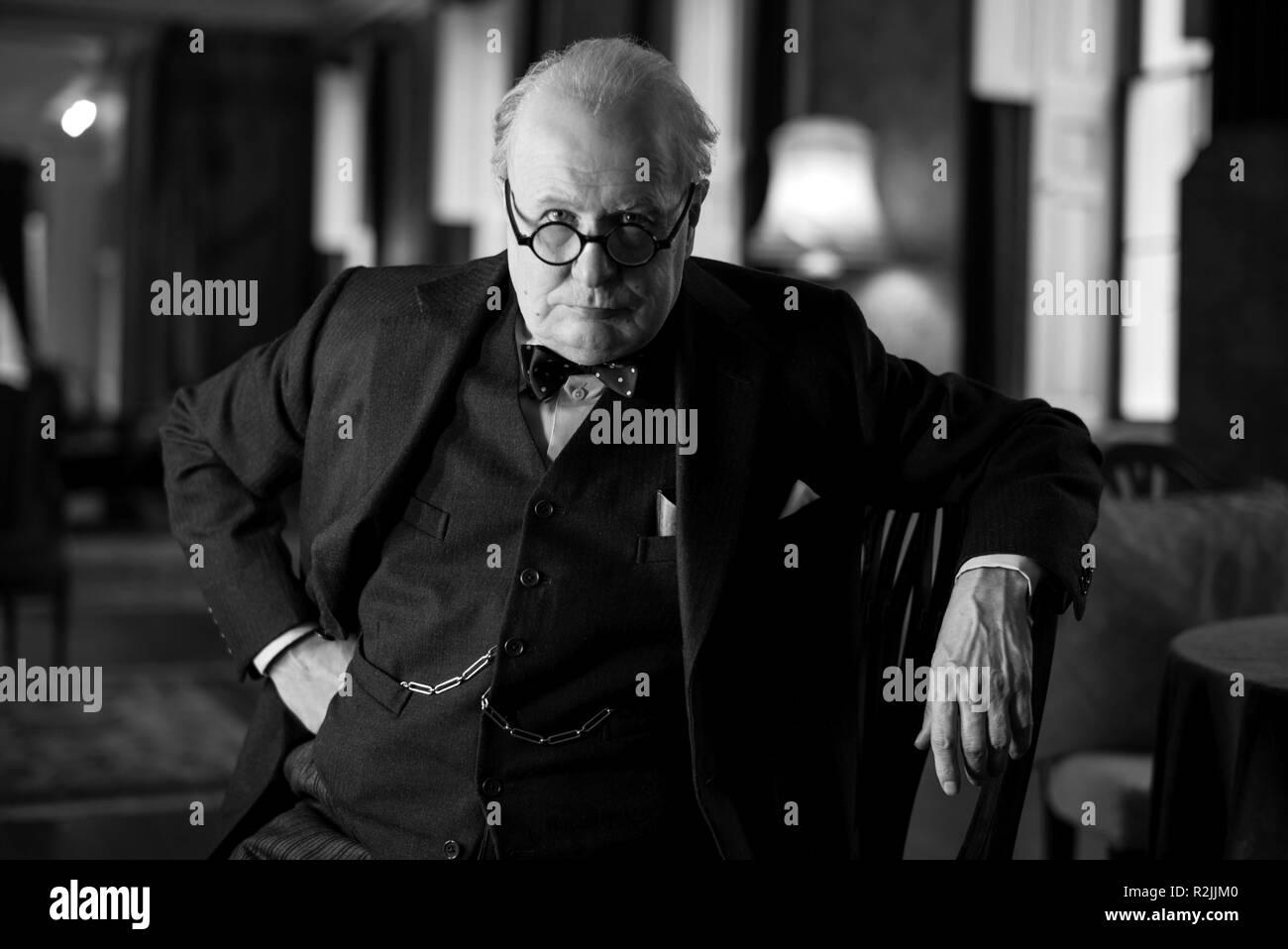 Darkest hour year 2017 uk director joe wright gary oldman stock image