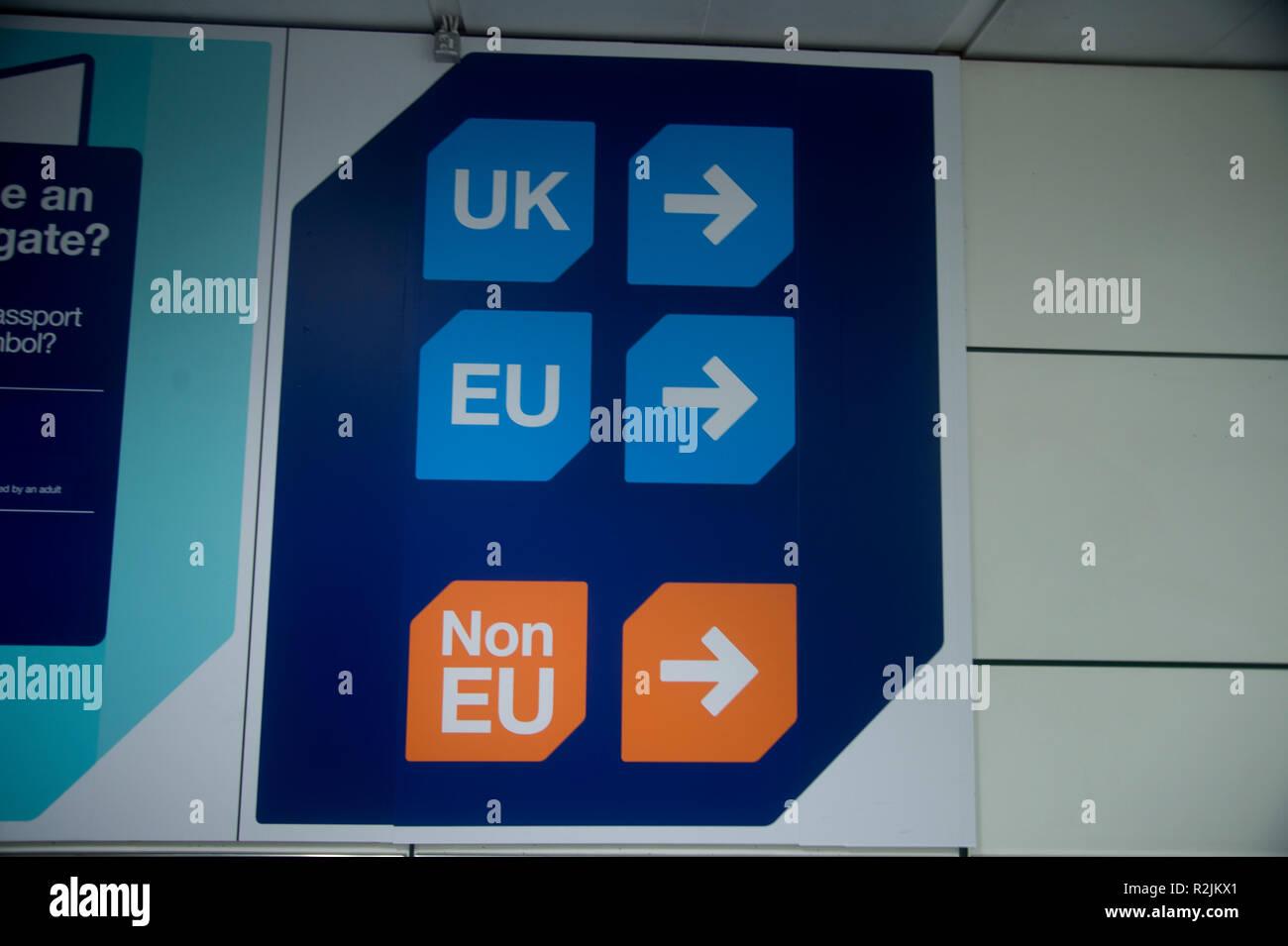 Gatwick airport. Eu and non EU entry signs - Stock Image