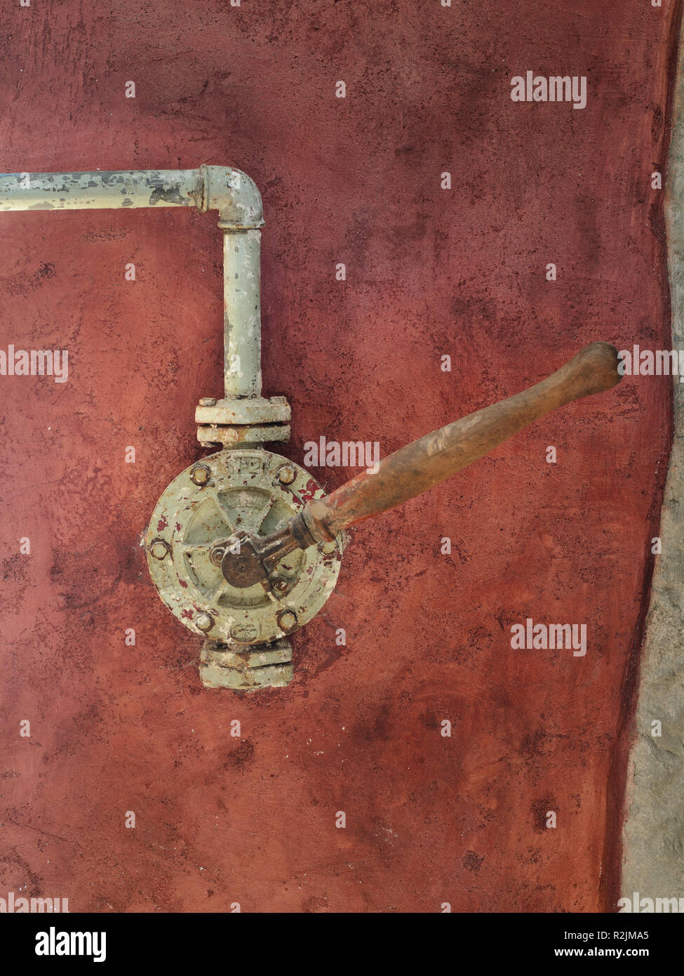 Old in-house water pomp used in old rural houses and areas with ground water - Stock Image