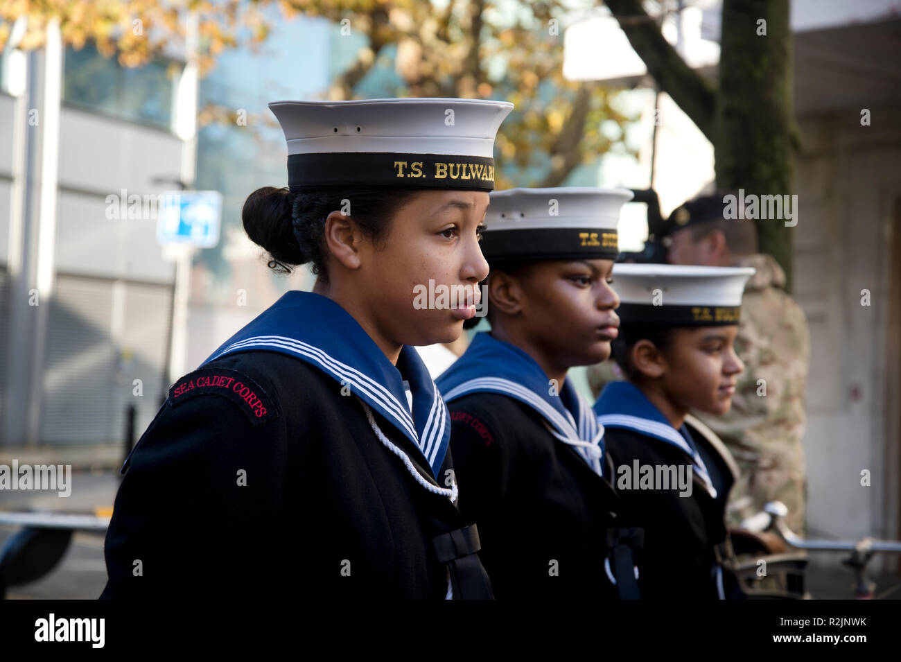 Remembrance Day Parade. St John at Hackney. Young cadets on parade, marching. - Stock Image