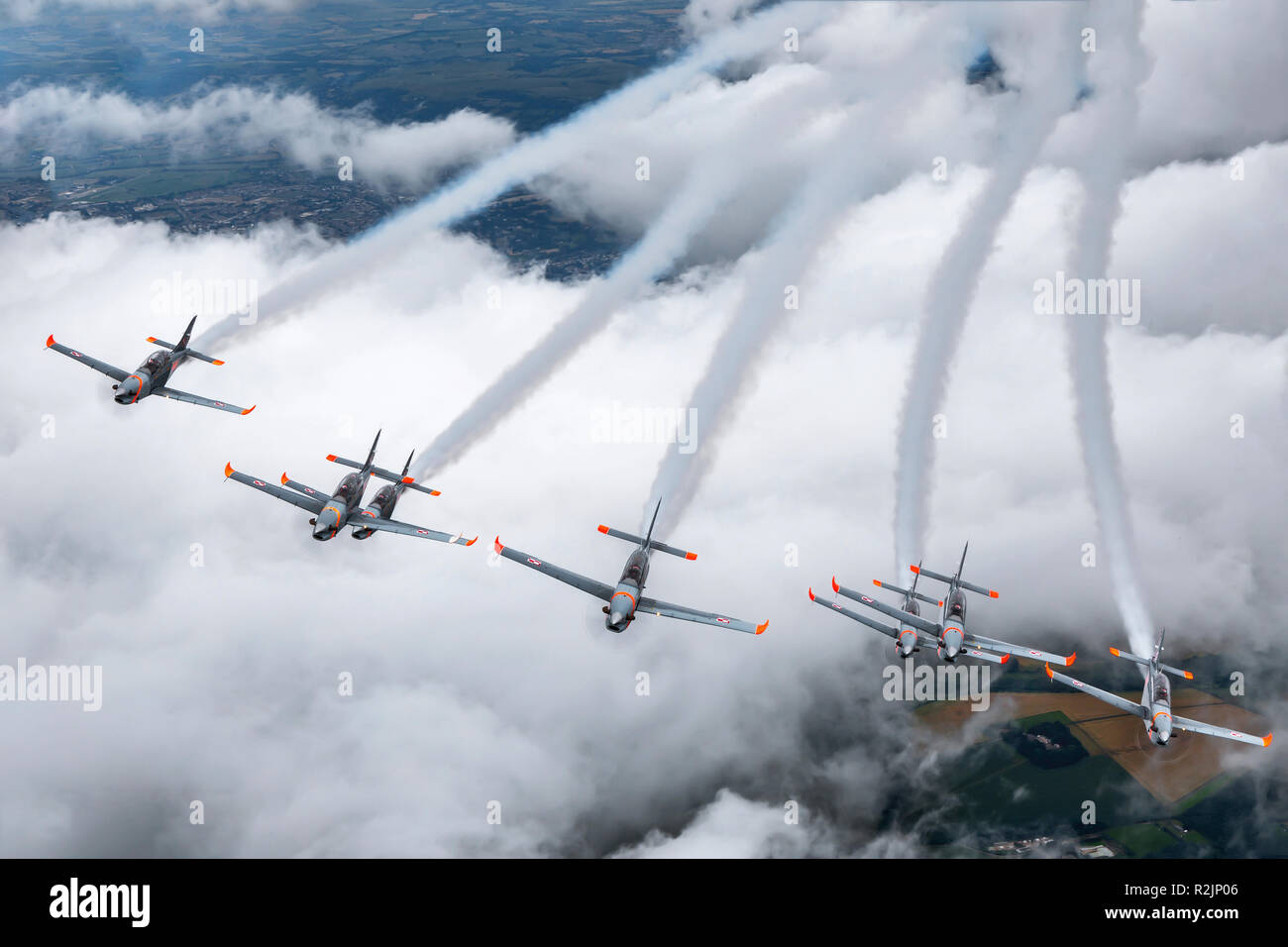 Orlik Aerobatic Team the aerobatic team of the Polish Air Force flying  the PZL-130 Orlik. Photographed at Royal International Air Tattoo (RIAT) - Stock Image