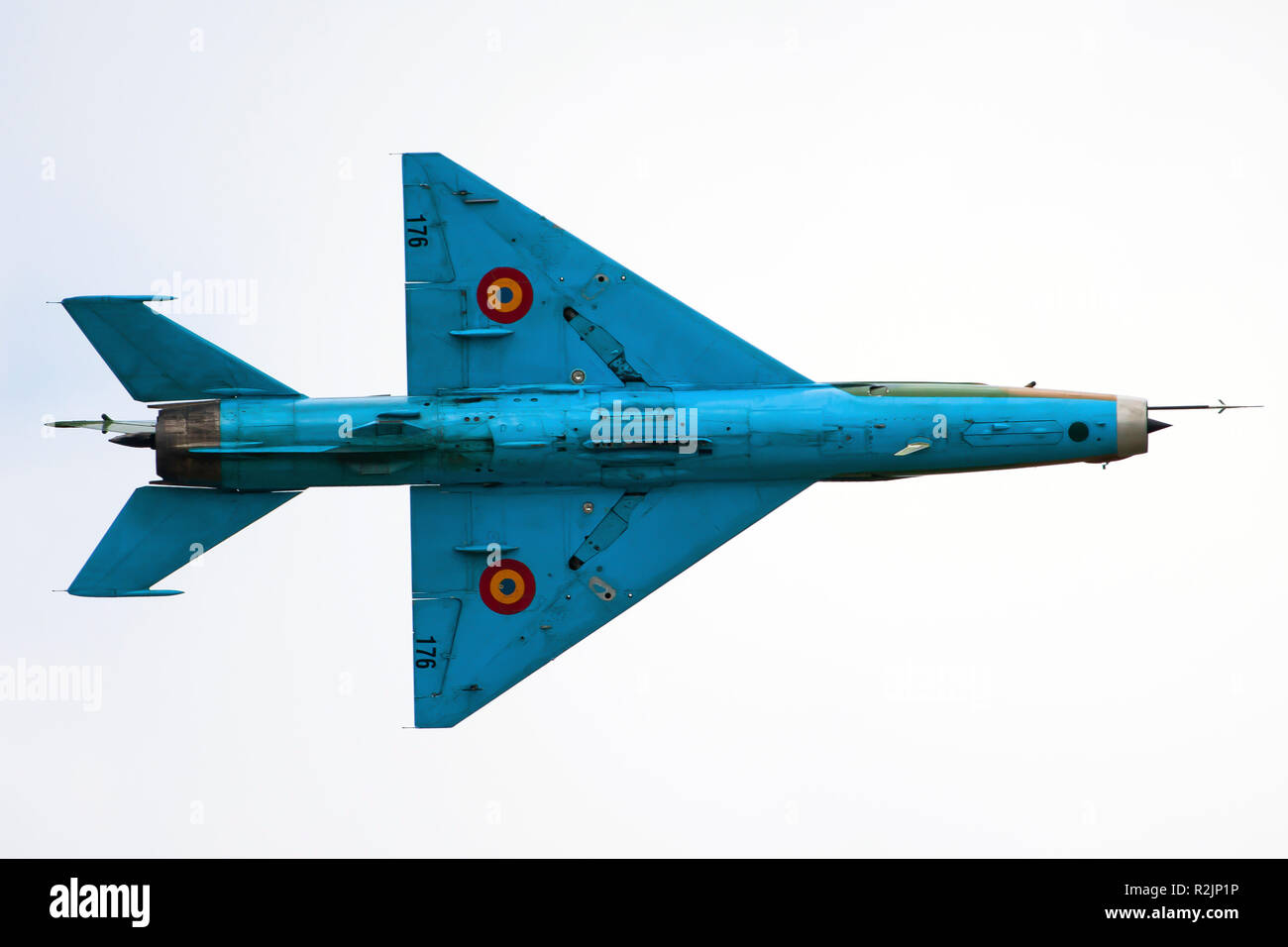 Undercarriage of a Romanian Air Force Mikoyan-Gurevich MiG-21. - Stock Image