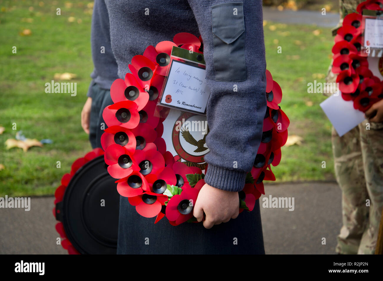 Remembrance Day wreath laying St John at Hackney church. - Stock Image
