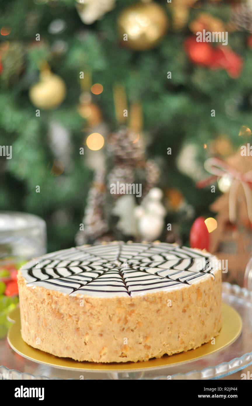 White Chocolate Mosaic Cake With Christmas Decoration