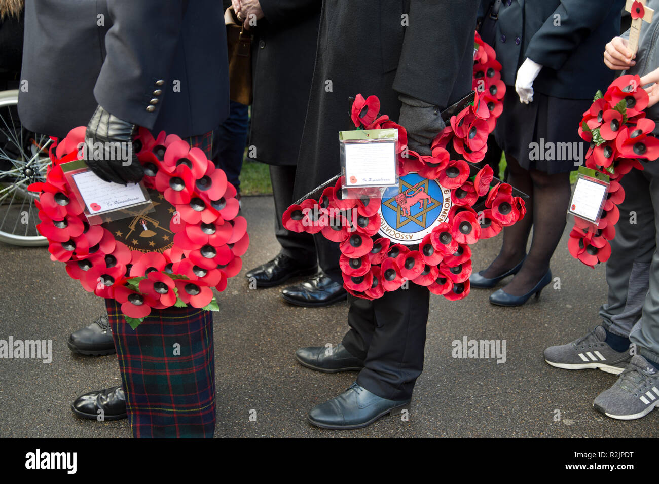 Remembrance Day wreath laying St John at Hackney church - Stock Image